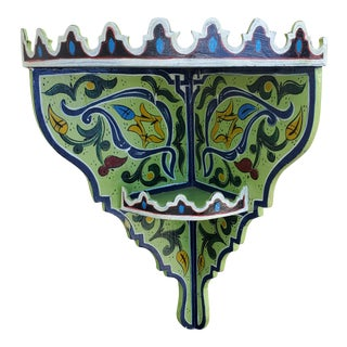 Moroccan Hand Painted Wooden Corner Shelf For Sale