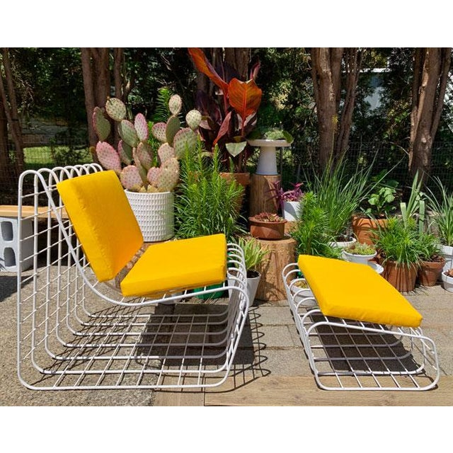 OH SO MOD 2 PC 60s/70s Wire Lounge chair with Ottoman This Vintage 2 pc set is unusual and packs a punch with NEW...