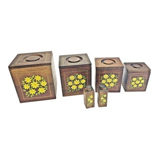 Vintage Mid Century Wood Canister Set With Salt & Pepper Shakers For Sale