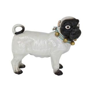 Large Antique Dresden Porcelain Pug For Sale
