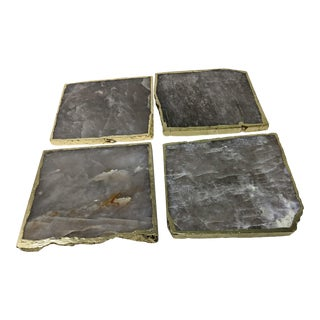 Organic Modern Smoke Gray Agate Coasters With Gold Metal Edge - Set of Four (4) For Sale