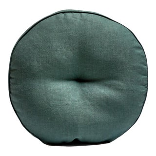 Featured in The 2020 San Francisco Decorator Showcase — Bespoke Martin Young Design Contemporary Green & Blue Linen Round Tufted Pillow For Sale