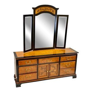 Vintage 1970s Bassett Chinoiserie Birch Dresser With Mirror For Sale