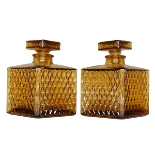 Vintage Amber Liquor Decanters - Pair
