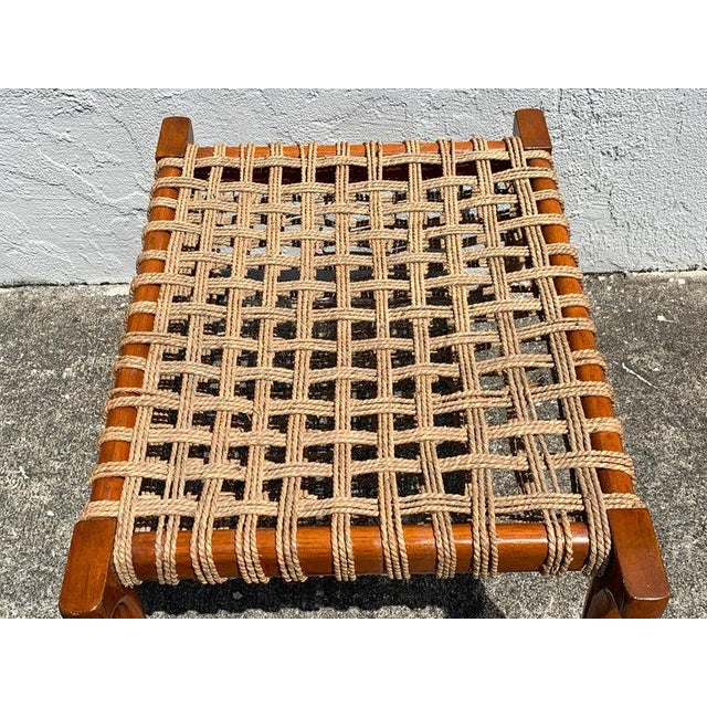 Vintage Klismos Mahogany and Woven Rope Bench, in the Manner of Robsjohn-Gibbons For Sale - Image 9 of 11