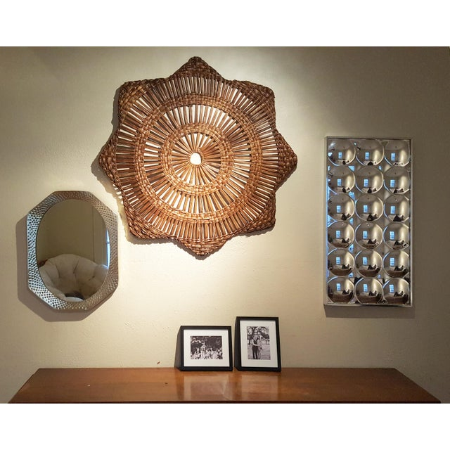 Vintage Mid-Century Rattan Star Wall Decoration For Sale - Image 4 of 4