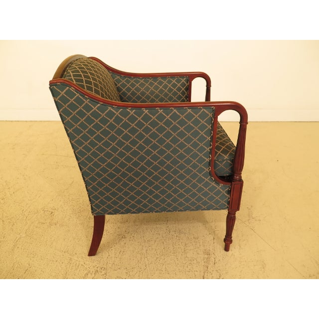 2000 - 2009 Vintage Thomasville Mahogany Sheraton Upholstered Club Chair For Sale - Image 5 of 11
