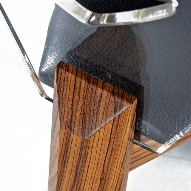 1970s Vintage Modern Lucite Back Zebra Wood Dining Chairs - New Black Vinyl For Sale - Image 5 of 9