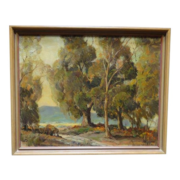 """1950s Vintage Walt Lee """"After the Rain"""" Oil on Canvas Painting For Sale"""