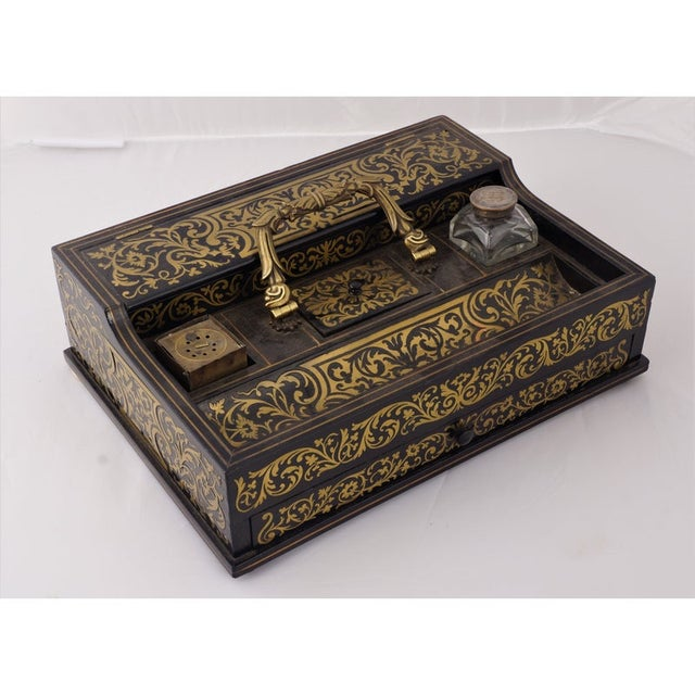 Metal Circa 1880 Italian Napoleon III Inlaid Brass and Lacquered Mahogany Inkwell For Sale - Image 7 of 7