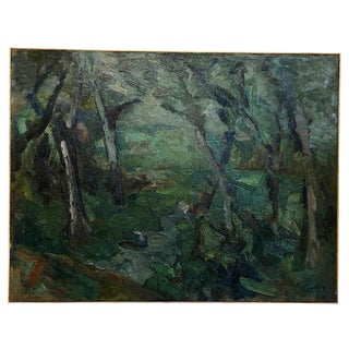 20th Century Forest Landscape Painting by Daniel Clesse For Sale