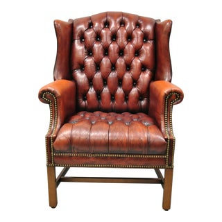 Vintage English Chesterfield Style Button Tufted Burgundy Leather Wingback Chair For Sale