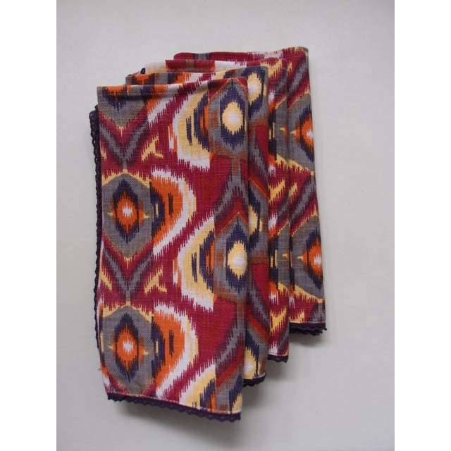 Plum Ikat Napkins - Set of 4 For Sale In Los Angeles - Image 6 of 9
