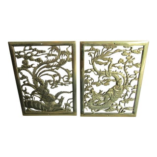 Vintage Chinoiserie Cast Brass Vents or Wall Plaques