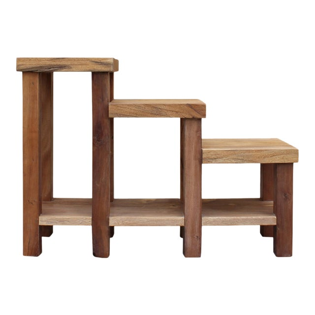 Chinese Rustic Thick Light Wood Step Shape Side Table Plant Stand For Sale