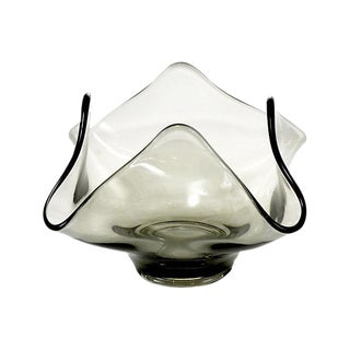 Mid Century Smoked Blown Glass Vase For Sale