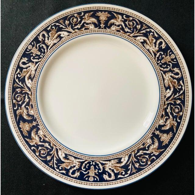 Blue Wedgwood Dinner and Salad Plates Florentine, England - Set of 3 For Sale - Image 8 of 10