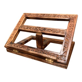 Midcentury French Carved Oak Folding Book Stand With Floral Motifs For Sale
