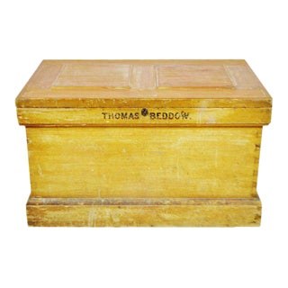 Vintage Wood Storage Trunk Chest For Sale