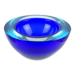 Murano Sommerso Light Blue Cobalt Italian Art Glass Geode Cut Bowl Dish For Sale