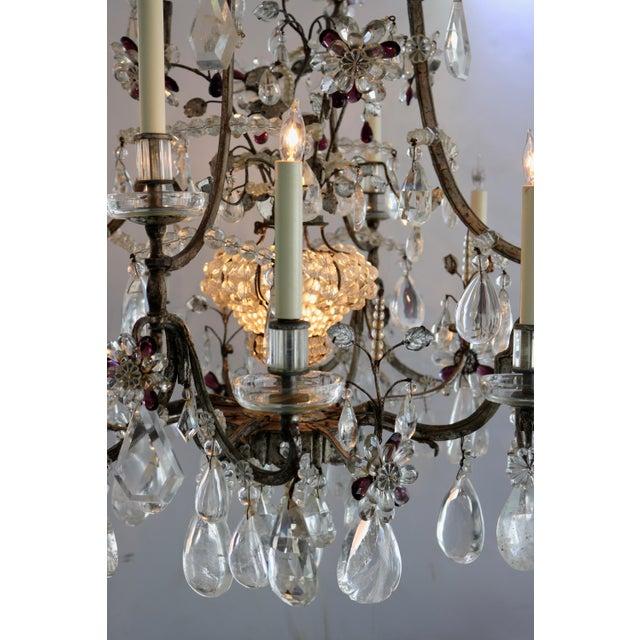 1920s Masion Bagues, 12-Light, Rock Crystal & Amethyst Chandelier For Sale - Image 5 of 11