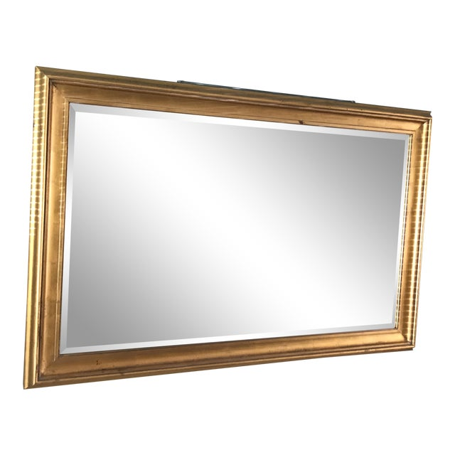 Vintage Large Gold Framed Bevel Edged Mirror | Chairish