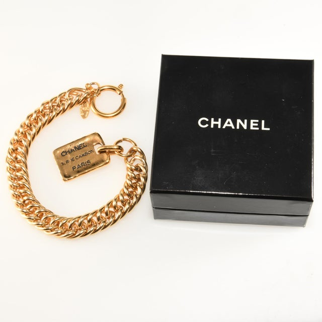 Chanel Chanel Gold Colored Bracelet Rue Cambon Tag Charm For Sale - Image 4 of 5