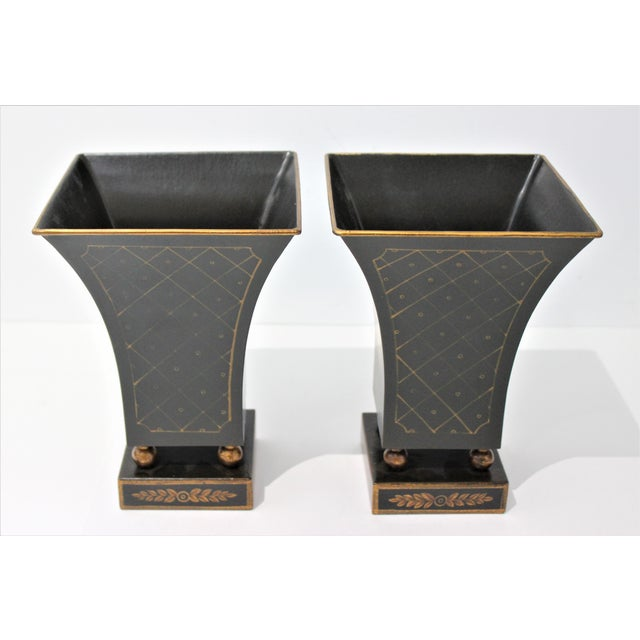 Stately vintage cachepot ideal for small pot or vase of flowers or greenery, from a Palm Beach estate. There is a very...