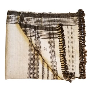 Homespun Wool Tribal Bed Throw For Sale
