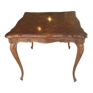 1970s American Classical Karges Provincial Square Card Table For Sale