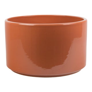 1970s Terra Cotta Colored Gainey Style Cylinder Planter For Sale