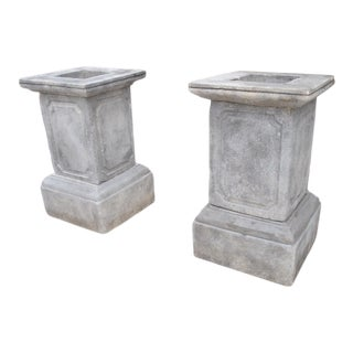 Pair of Cast Stone Garden Pedestals From Southern Italy For Sale