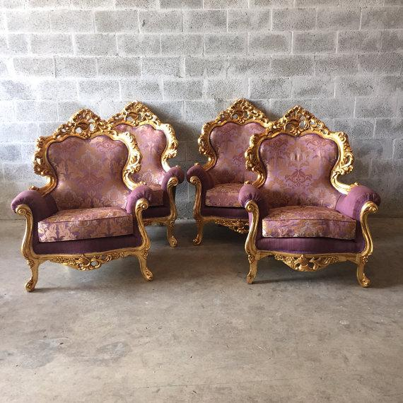 Italian Rococo chairs made to fit every living room. The frames have new gold leaf and the fabric was upholstered in Italy...