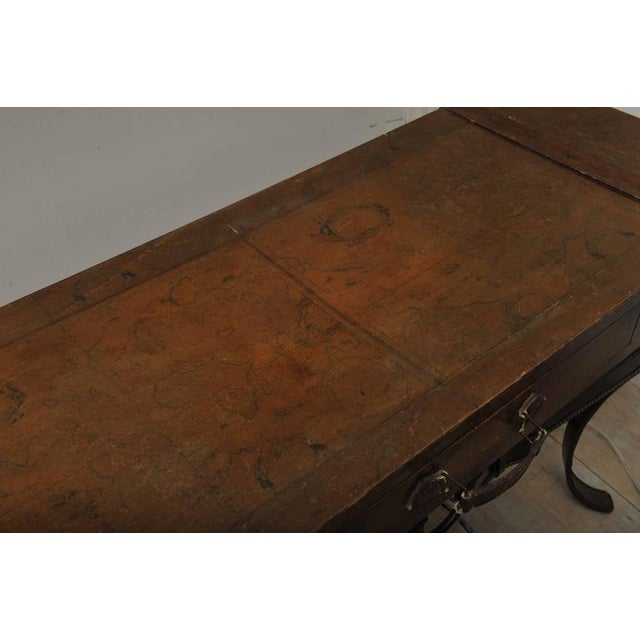 World Map Suitcase Table With Leather Straps and Buckles For Sale - Image 10 of 11