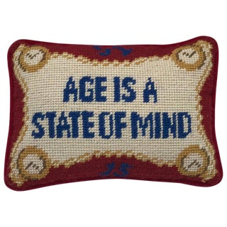 "1960s ""Age Is a State of Mind"" Needlepoint Pillow With Velvet Backing For Sale"