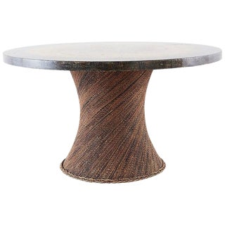Organic Modern Rope Clad Round Tree Trunk Pedestal Table For Sale