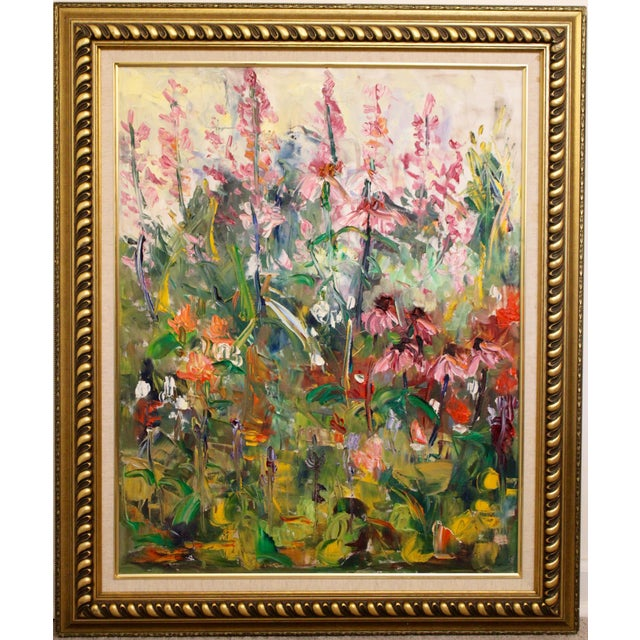 """Large Impressionist Botanical Framed Original Oil Painting, """"Fire Candle"""" by Geraldine Harty For Sale - Image 13 of 13"""