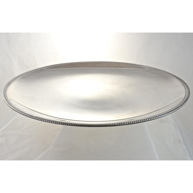 """Oversize 17"""" Round Silver Tray, Circa 1950s - Image 3 of 4"""