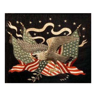 American Market Large Japanese Eagle & Flag Silkwork For Sale