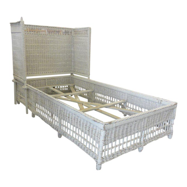 Vintage Hooded Wicker Twin Bed For Sale