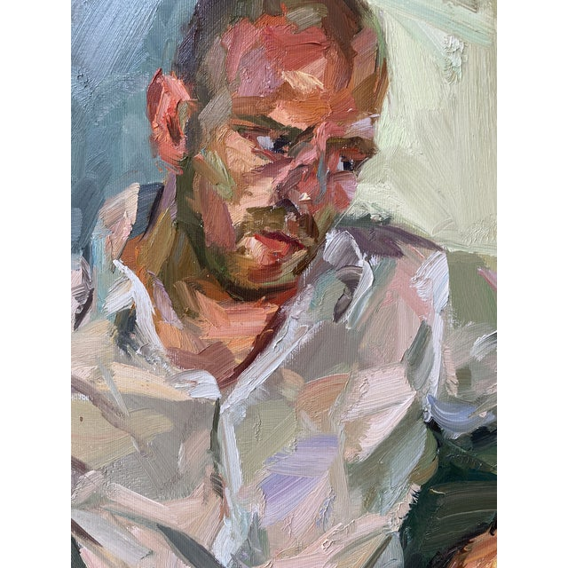 "Contemporary Oil Painting by Paul Wright, ""Double Self Portrait"" For Sale - Image 4 of 9"
