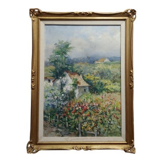 "Francois Florit ""Cottage in Beautiful Garden Landscape"" Oil Painting C. 1930s For Sale"