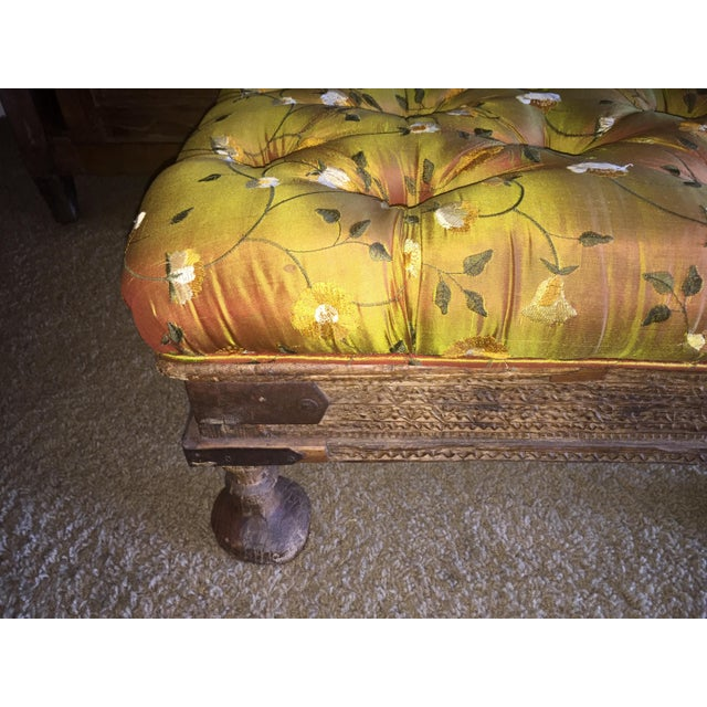 Orange Embroidered Handcarved Ottoman Stool - Image 7 of 11
