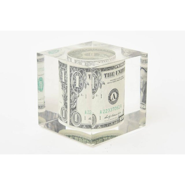 Vintage Dollar Bill Lucite Sculpture / Paperweight For Sale In Miami - Image 6 of 10