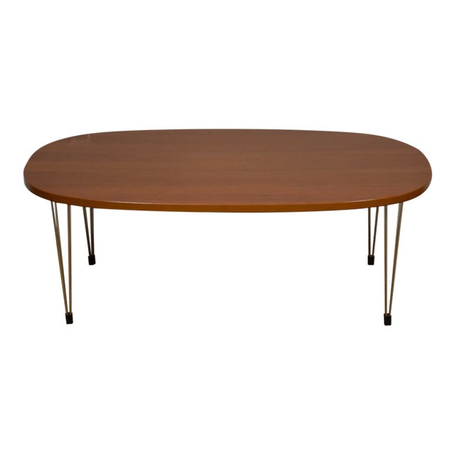 Cherry and Chrome Oval Coffee Table For Sale