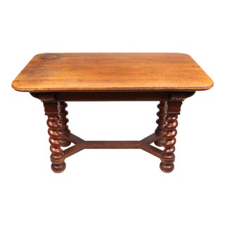 Edwardian English Oak Library Table