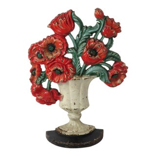 1920s Hubley Cast Iron Poppy Flower Doorstop For Sale