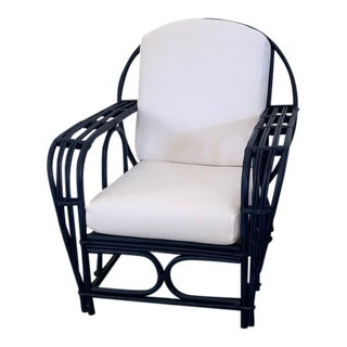 Vintage 202c Navy Rattan Armchair For Sale