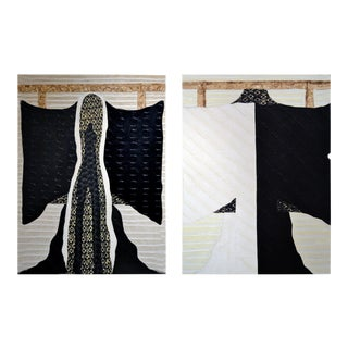 """Kimono Series"" No. 101 and 102 - Black/White by Jane Evans (Canada) - a Pair For Sale"