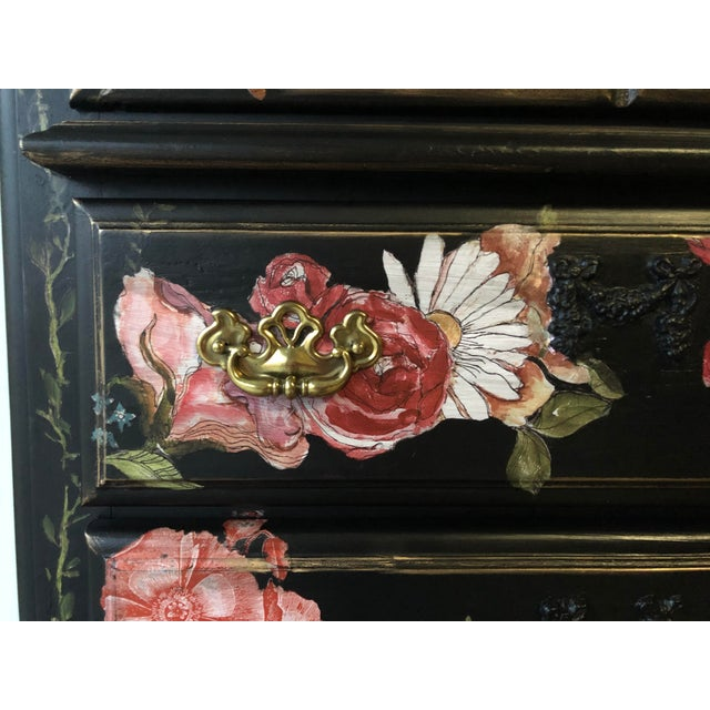 Tall Midnight Floral Storage Dresser Chest With Pinstriped Siding and Faux Marbleized Top For Sale - Image 9 of 12